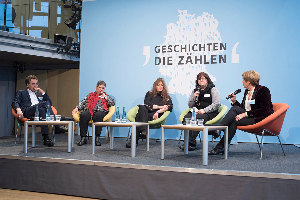 Betroffene und Angehörige von Betroffenen sowie die Kommissionsmitglieder Christine Bergmann und Peer Briken auf einer Bühne.