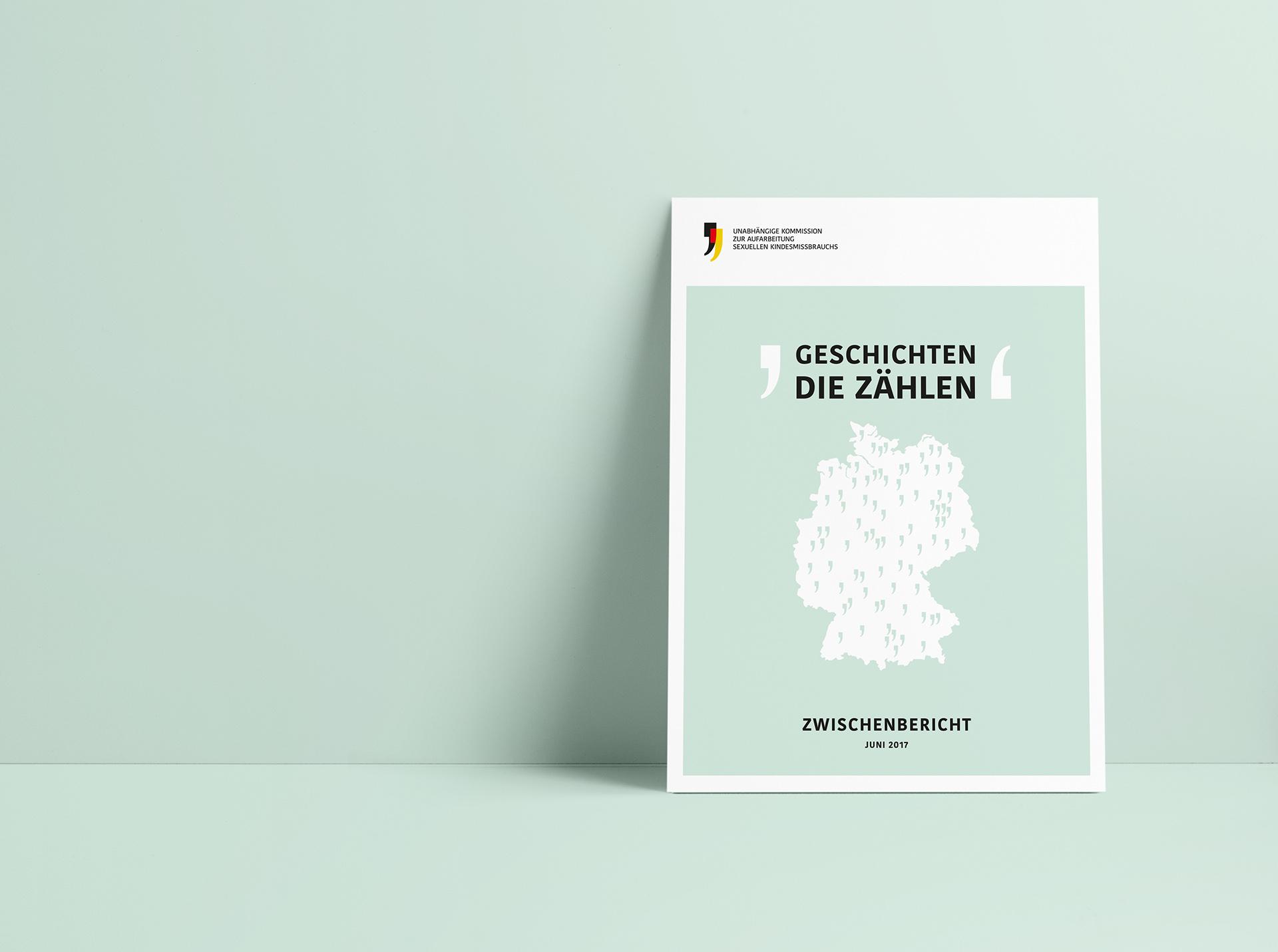 """Coverbild """"Zwischenbericht 2017"""" der Unabhängigen Kommission zur Aufarbeitung sexuellen Kindesmissbrauchs"""