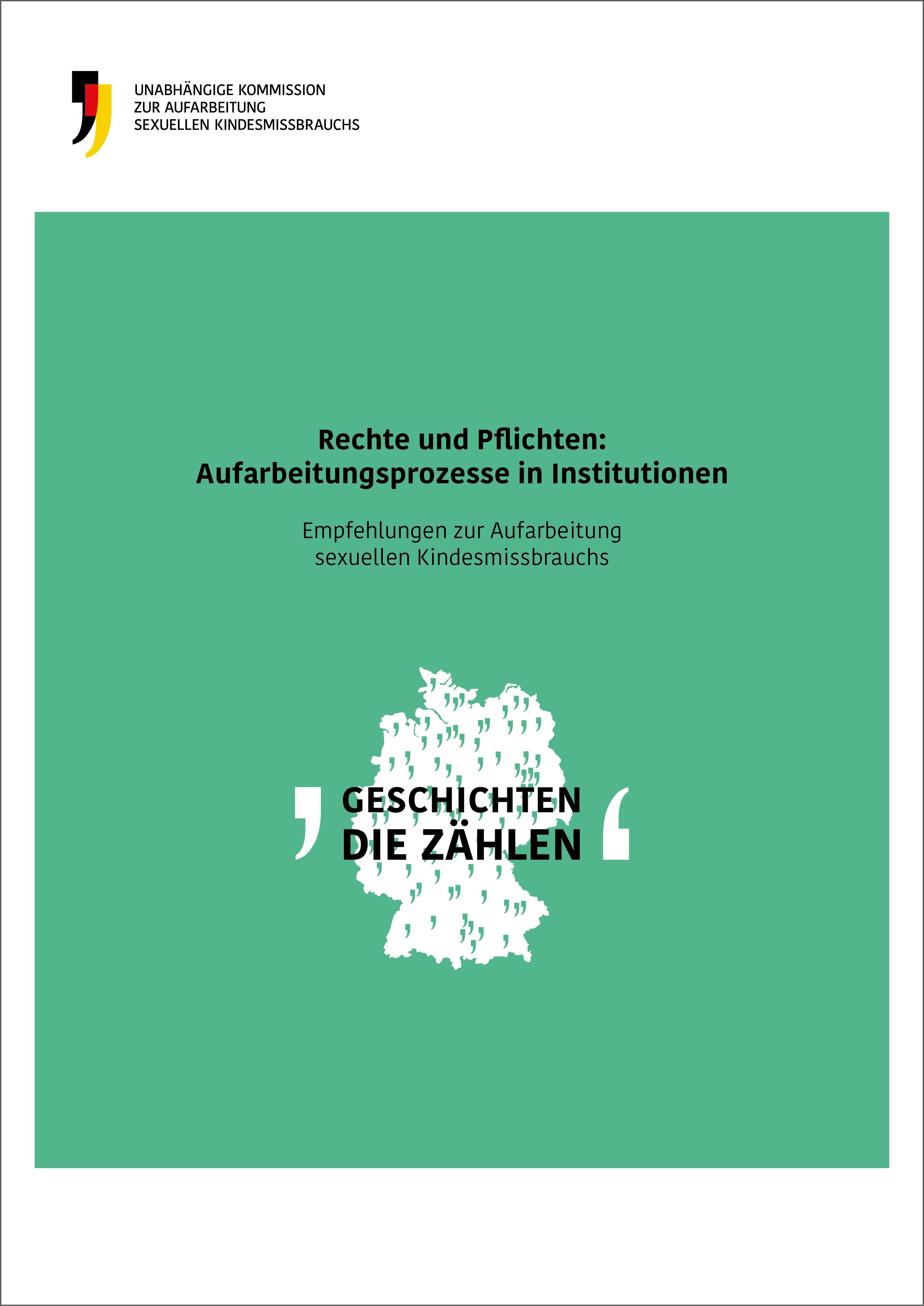Cover der Empfehlungen zur Aufarbeitung in Institutionen