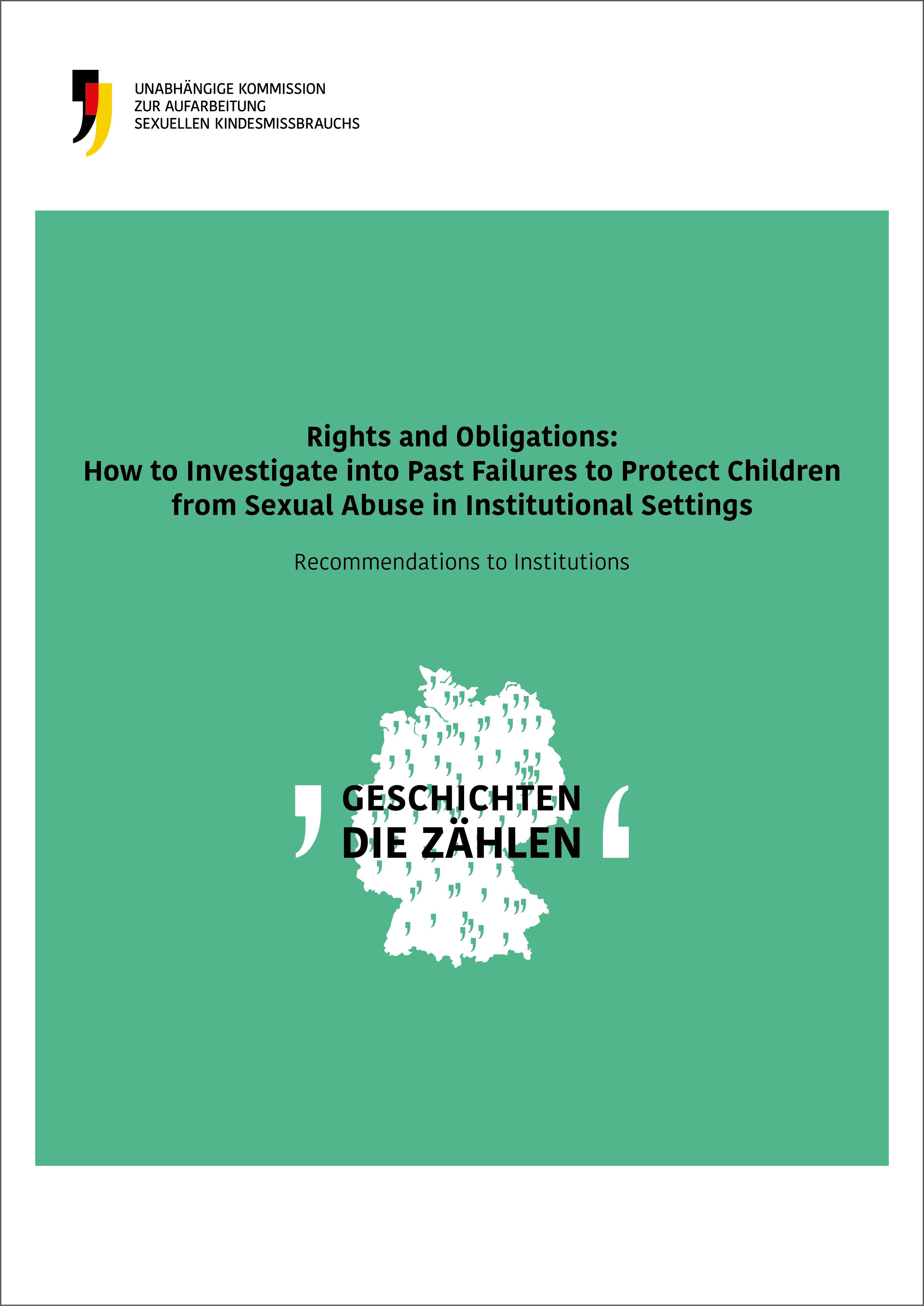 Cover der englischen Ausgabe der Empfehlungen zur Aufarbeitung in Institutionen