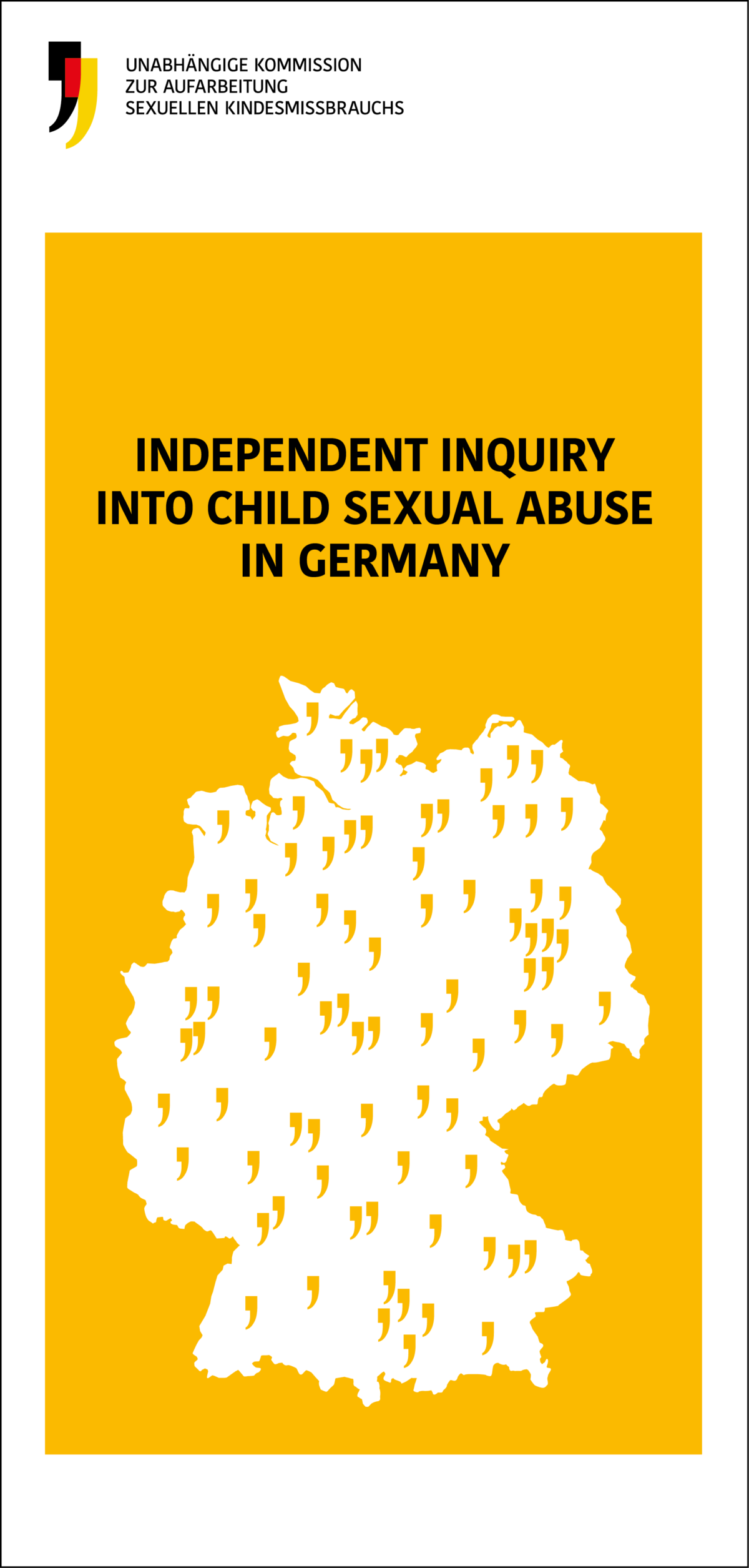 Vorderseite eines Flyers in englischer Sprache. Darauf steht der Name der Kommission in Englisch: Independent Inquiry into Child Sexual Abuse