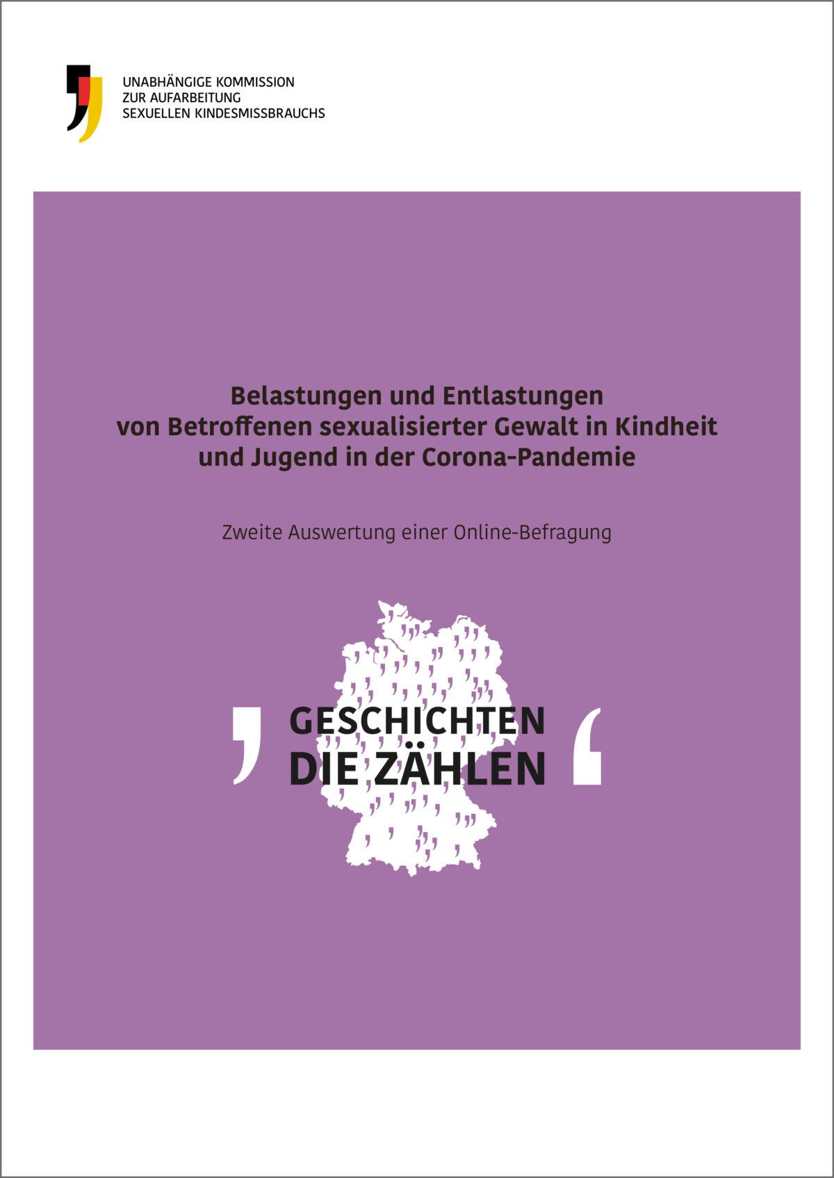 """Cover einer Publikation mit dem Titel """"Belastungen und Entlastungen Betroffene sexualisierter Gewalt in der Corona-Pandemie"""""""