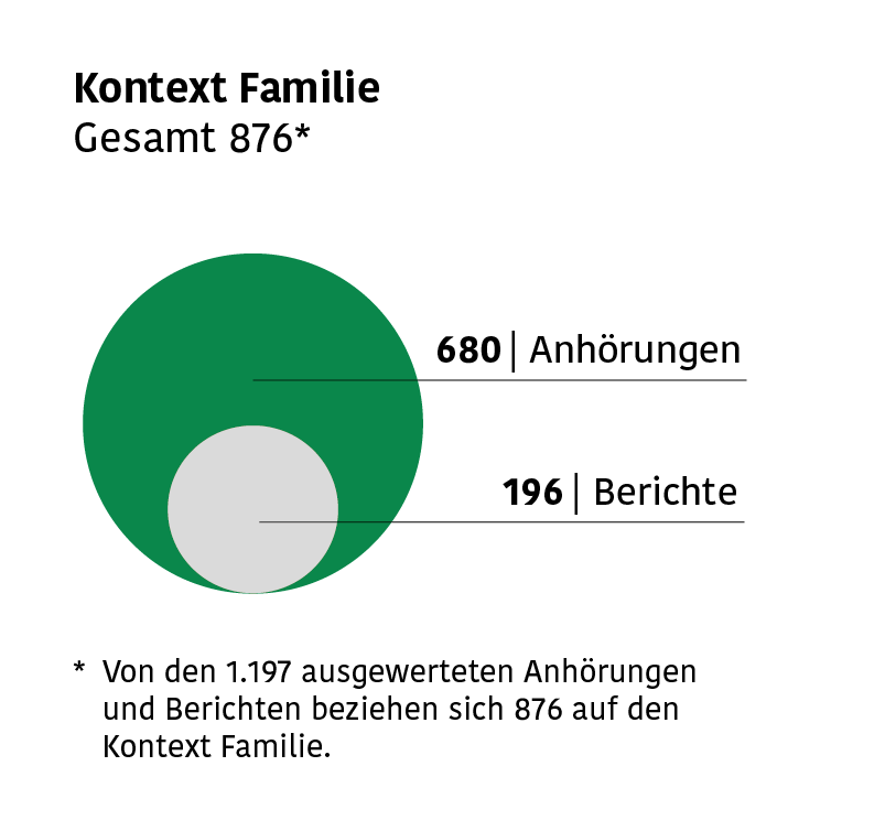 Infografik mit Zahlen der Anhörungen und Berichte aus dem Bereich Familie: 680 Anhörungen und 196 Berichte.