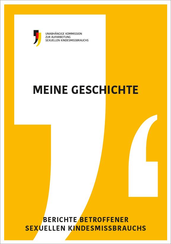 """Cover der Betroffenengeschichten mit dem Titel """"Meine Geschichte"""""""