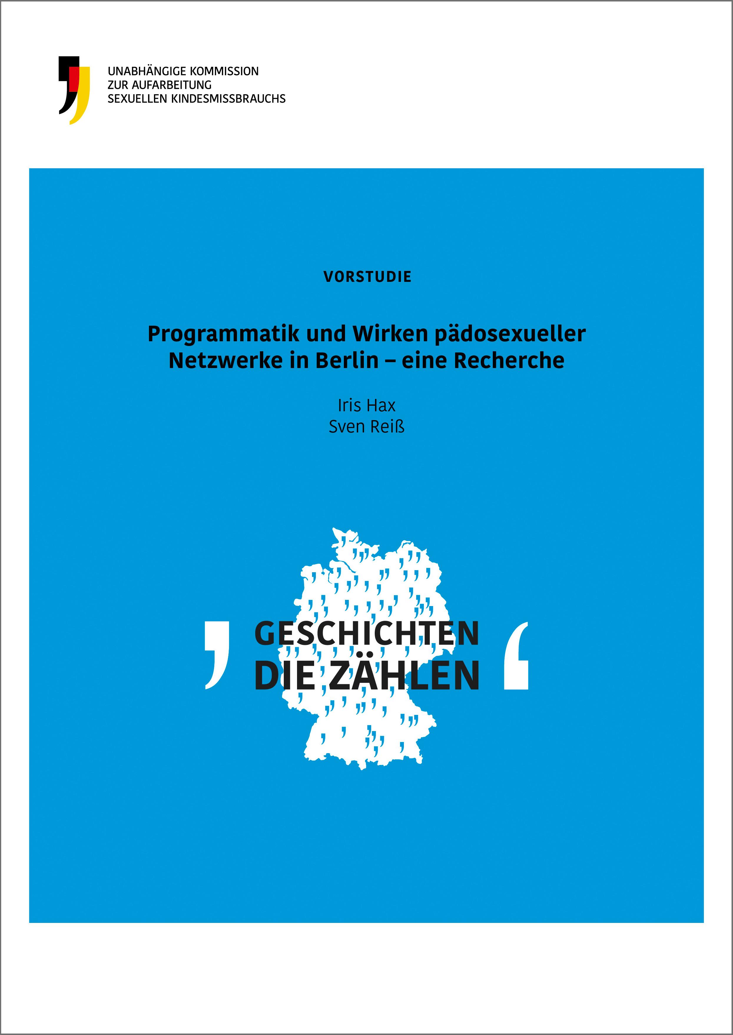 """Vorderseit der Vorstudie mit dem Titel """"Programmatik und Wirken pädosexueller Netzwerke in Berlin - eine Recherche"""""""