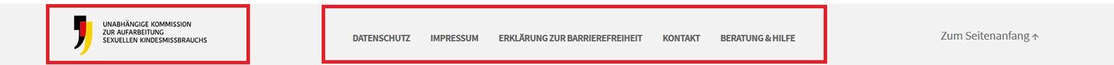 """Screenshot des Footers der Webseite mit Logo und Links zu Datenschutz, Impressum, Erklärung zur Barrierefreiheit, Kontakt, Beratung& Hilfe und """"Zum Seitenanfang"""""""