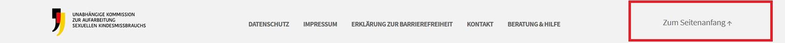 """Screenshot des Footers der Webseite mit Hervorhebung von """"Zum Seitenanfang"""""""