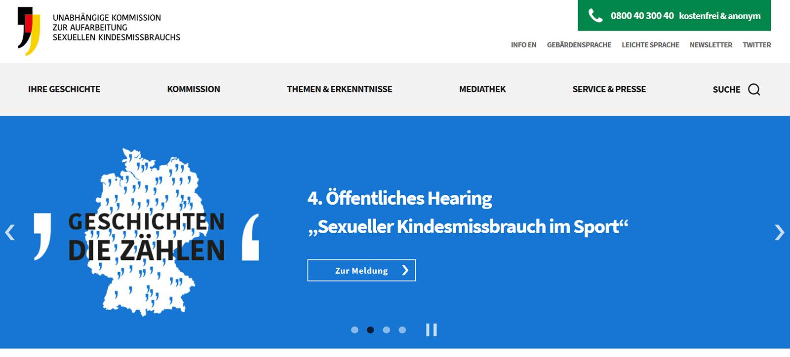 Screenshot der Startseite mit Slider